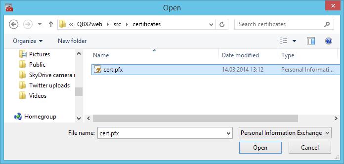 Datei Öffnen dialog für die cert.pfx